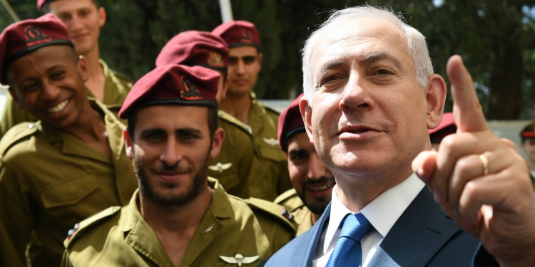 PM Netanyahu with IDF soldiers