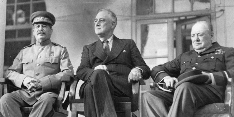 Stalin, Roosevelt, and Churchill at Tehran Conference, 1943