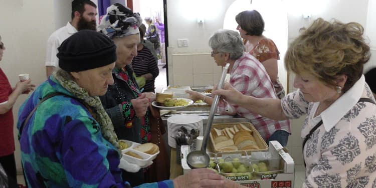 Elderly in line at one of the Eshel soup kitchens in Israel