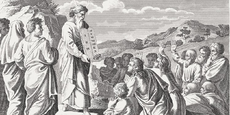 Moses presents the Ten Commandments to the people.