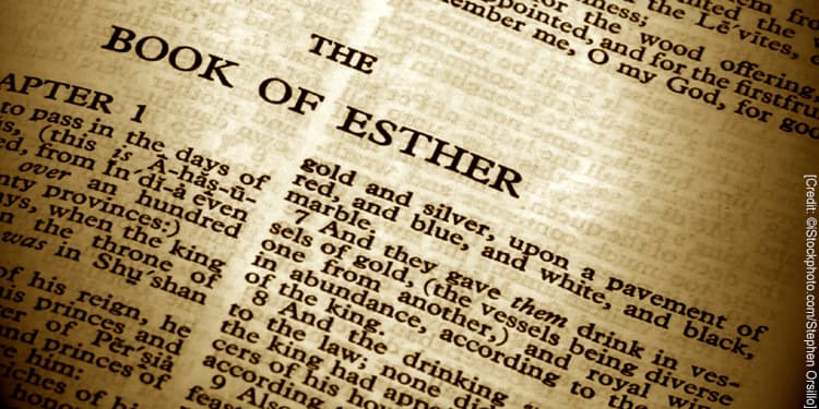 Close up of text in the Bible. The Book of Esther.